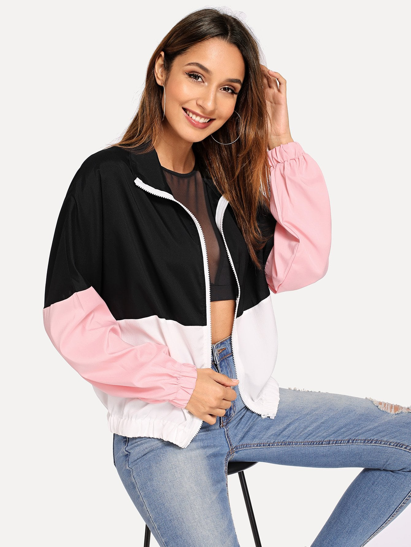 SHEINElastic Hem Color Block Windbreaker Jacket