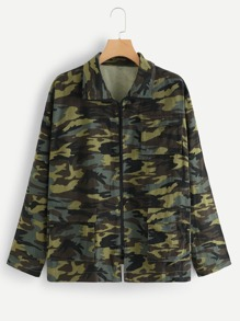 Plus Pocket Patched Camo Print Jacket
