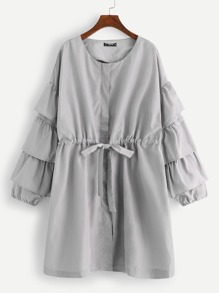 Plus Tiered Ruffle Sleeve Drawstring Waist Coat