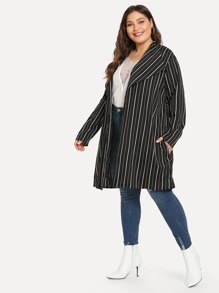 Plus Vertical Stripe Longline Coat