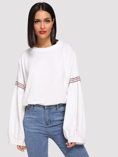 03ea7ea3bb8 Drop Shoulder Bishop Sleeve Sweatshirt EmmaCloth-Women Fast Fashion ...