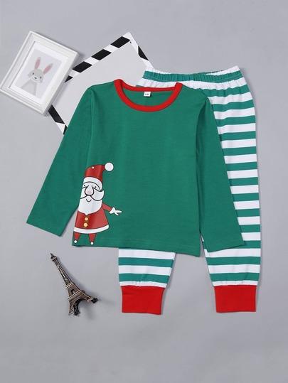 4bba694f06f1c Noël Enfant Ensemble de pyjama rayé imprimé père Noël