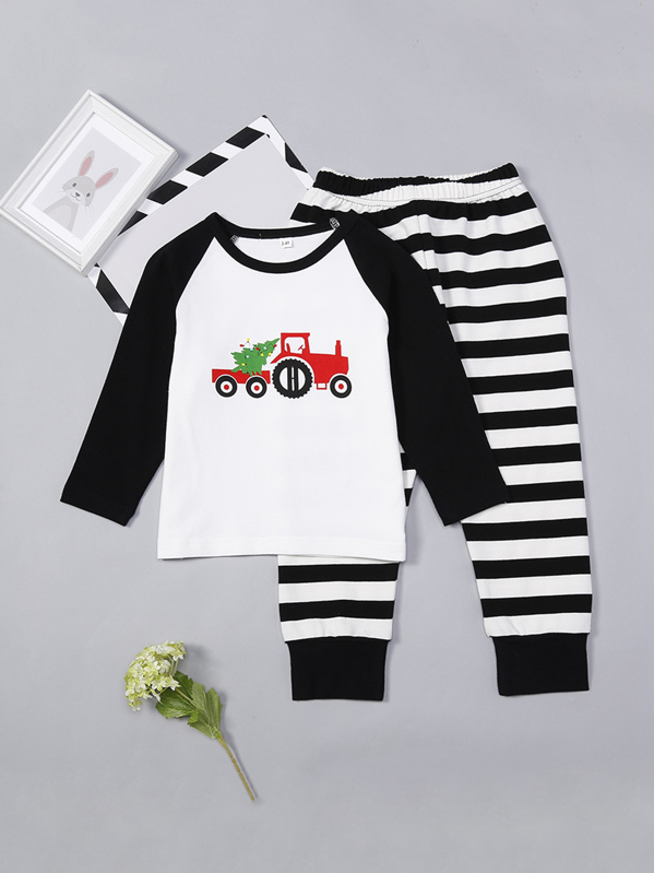 b70b2f3f33 Christmas Kids Car Print Striped Pajama Set | SHEIN UK