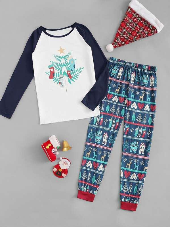 319ebff2a7 Christmas Men Mixed Print Pajama Set | SHEIN UK