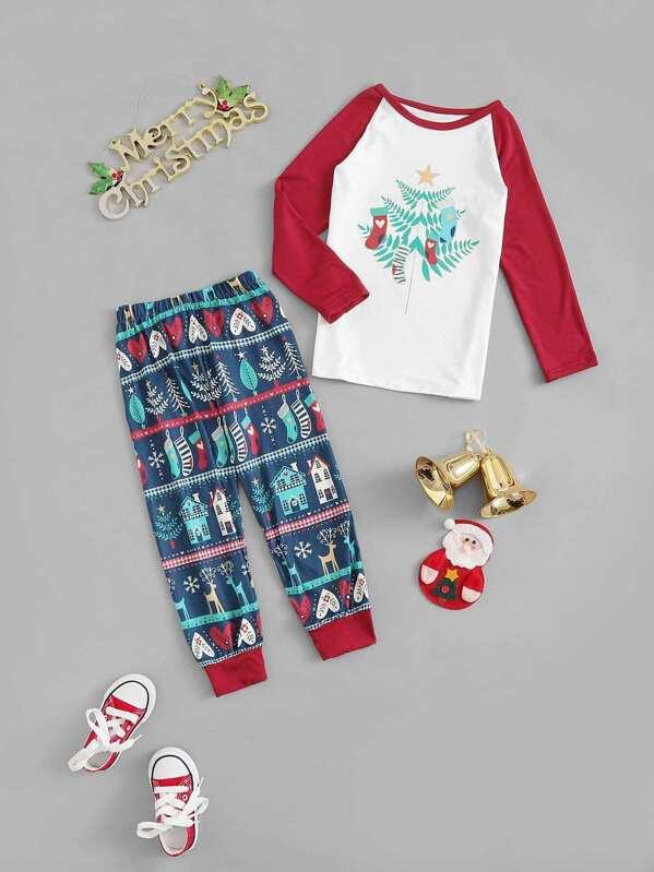 4492b3510e608 Noël Enfant Ensemble de pyjama imprimé mixte