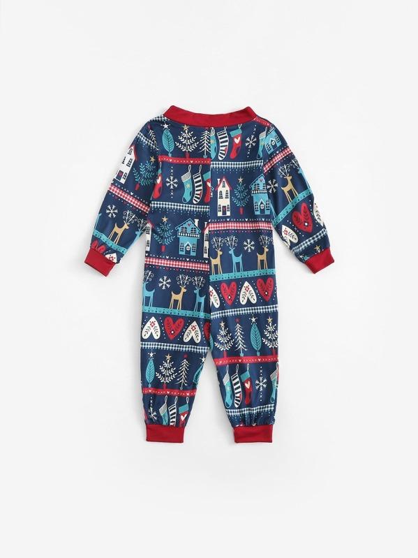51a7a8e844 Christmas Kids Mixed Print Jumpsuit | SHEIN UK