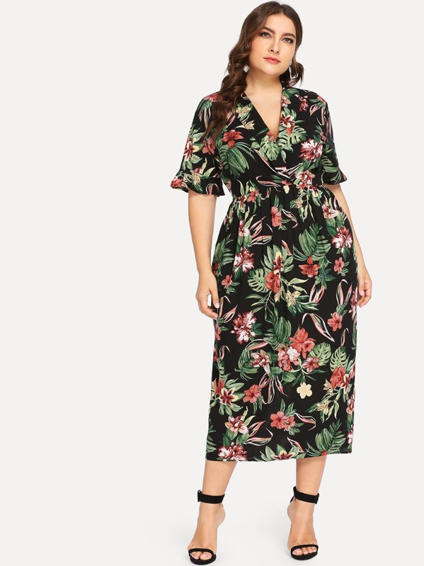 Plus Ruffle Sleeve Surplice Wrap Tropical Dress