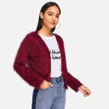 Image of Open Front Solid Fuzzy Coat