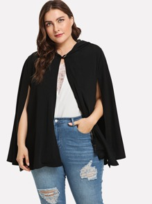 Plus Button Front Cape Coat