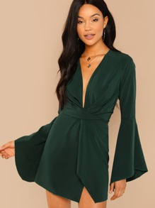 Flounce Sleeve Twist Plunging Neck Dress