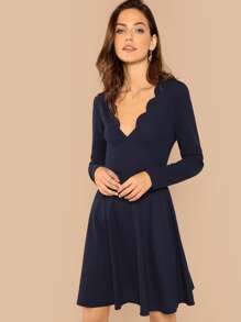 Scallop Edge Fit and Flare Dress