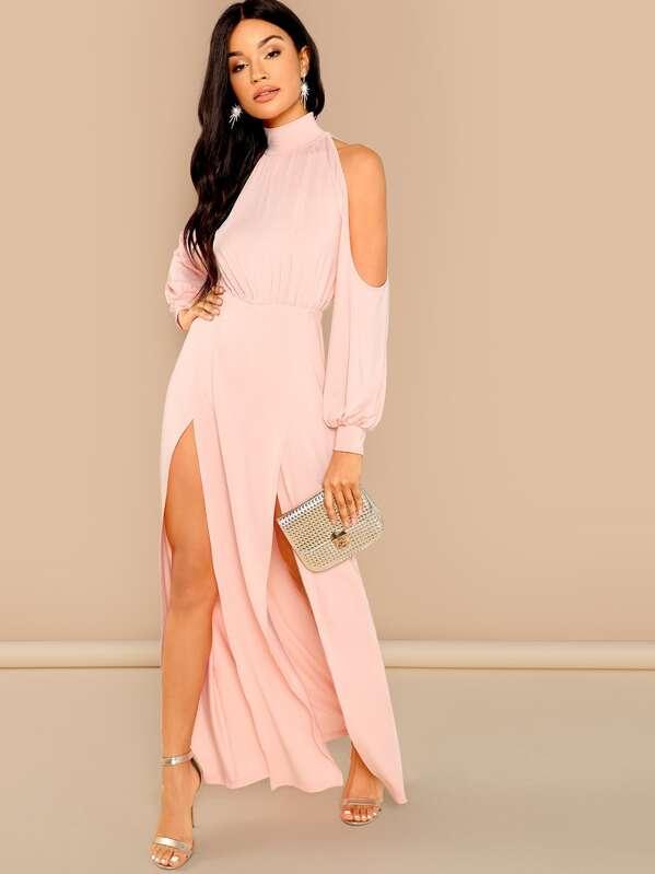 43187be64a39 M-Slit Front Cold Shoulder Dress