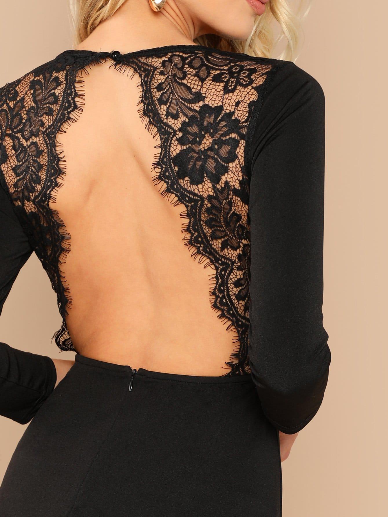 8803c8c9deae54 Rückenfreies Kleid mit Spitze