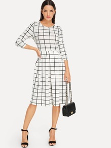 Pleated Plaid Dress