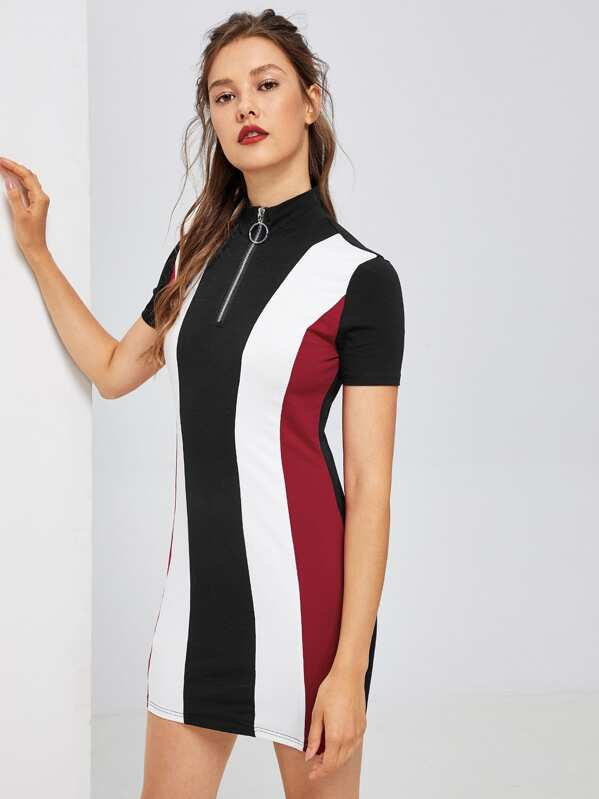 c36be90fee O-Ring Zip Front Color Block Dress | SHEIN IN