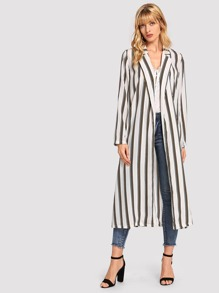 Self Belted Striped Longline Coat