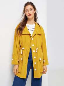 Button Front Drawstring Hoodie Coat