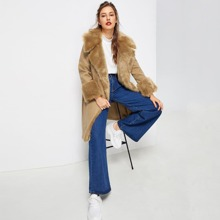Image of Shawl Collar Faux Fur Embellished Coat