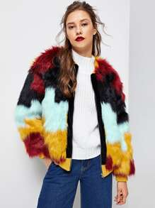Cut and Sew Faux Fur Coat