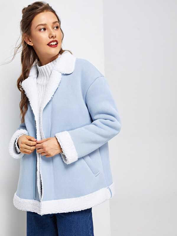 29daa9b98d Faux Fur Lined Zip Up Coat | SHEIN
