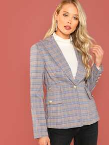 Single Button Breasted Plaid Blazer