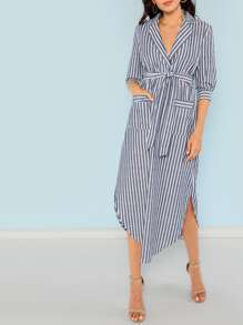 Notch Collar Patch Pocket Front Striped Dress