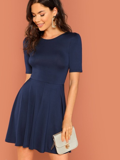 d812c1b369 Solid Fit and Flare Dress