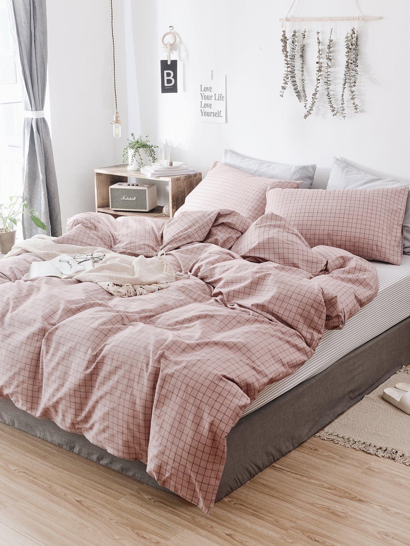 ensemble de draps carreaux french shein sheinside. Black Bedroom Furniture Sets. Home Design Ideas