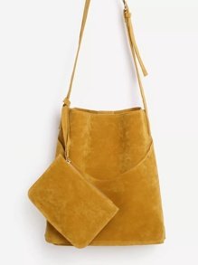 Suede Shoulder Bag With Wallet