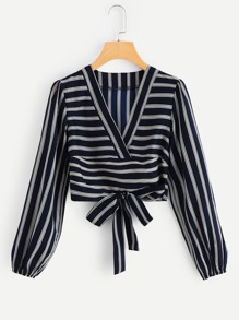 Striped Knot Front Blouse