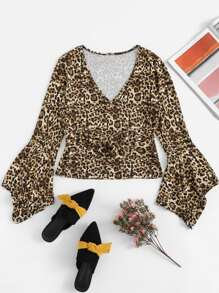 Leopard Knot Front Tee
