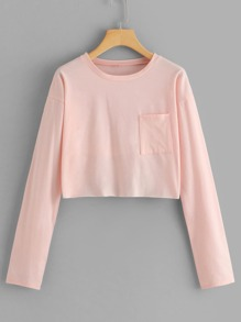 Pocket Detail Solid Crop Tee