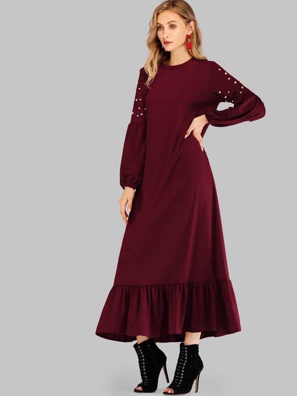 fc679ea03a862 الثوب لؤلؤة اصطناعية الخرز تجاعيد تنحنح حظ طويل فستان
