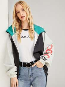 Letter Print Color Block Hooded Jacket