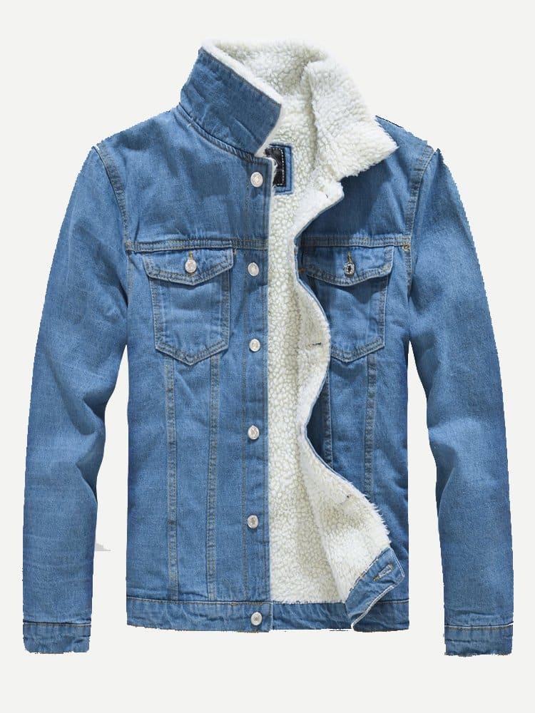 Men Shearling Lined Denim Jacket