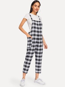 Pocket Decorated Plaid Jumpsuit