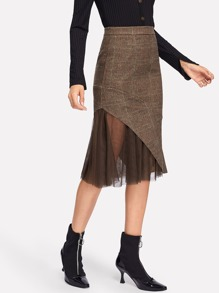 Contrast Mesh Wales Check Skirt