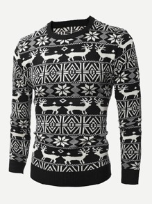 Men Christmas Fairisle Print Jumper