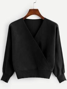 V-Neckline Solid Knit Sweater