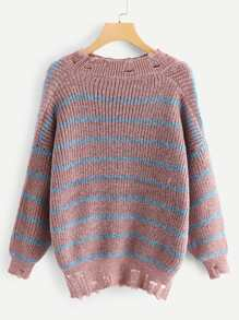 Plus Ripped Decoration Striped Sweater