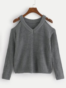Open-Shoulder Solid Sweater