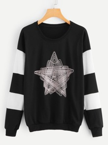 Cut And Sew Abstract Print Sweatshirt
