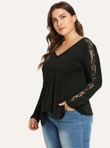 Plus Contrast Lace V-Neck Tee