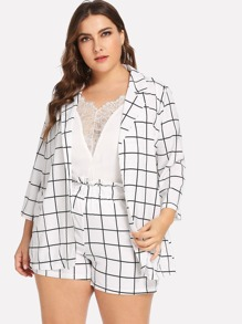 Plus Open Front Plaid Blazer With Shorts