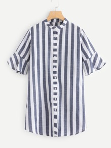 Striped Stand Collar Dress