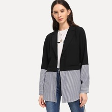Tie Waist Mixed Media Striped Blazer