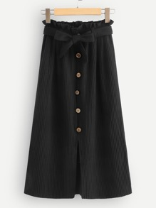 Ruffle Detail Button Front Skirt