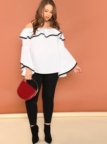 Plus Contrast Binding Flounce Bardot Top