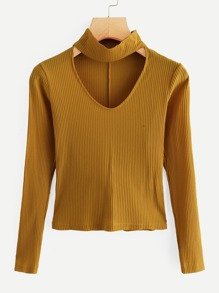 V Neck Ribbed Sweater