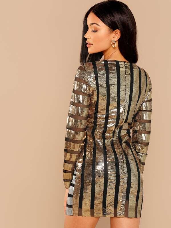 1dd19d3029 Cut & Sew Mesh Panel Sequin Striped Dress | SHEIN
